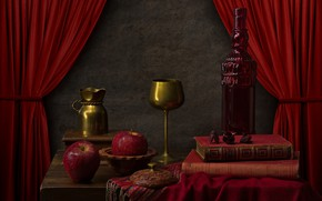 Картинка красный, бутылка, яблоко, бокалы, книга, шторы