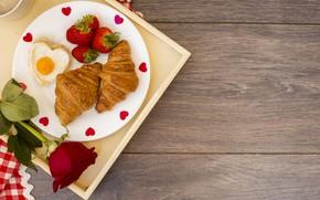 Картинка завтрак, клубника, romantic, breakfast, Круассаны