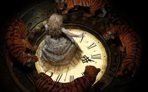 Картинка кружева, циферблат, заклинание, по кругу, тигры, колдунья, art, в темноте, белое пламя, Lee McCall, блондинкa