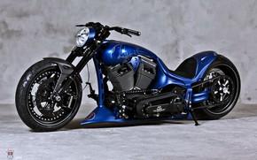 Картинка Harley Davidson, Custom, Motorbike, Blue chopper