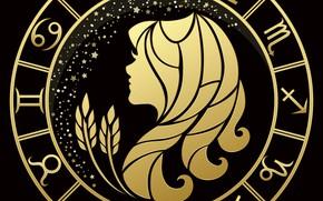 Картинка чёрный фон, дева, знак зодиака