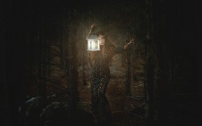 Картинка лес, девушка, свет, темнота, фонарь