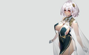 Картинка girl, sexy, cleavage, dress, boobs, anime, beautiful, short hair, pretty, erotic, breasts, attractive, handsome, silver …