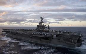 Картинка оружие, корабль, армия, самолеты, взлётная полоса, Авианосец