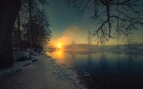 Картинка зима, озеро, вечер