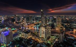 Картинка ночь, город, огни, здания, Тайланд, Бангкок