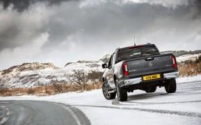 Картинка снег, Mercedes-Benz, обочина, пикап, 2017, X-Class, тёмно-серый, UK-version