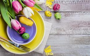 Картинка праздник, яйца, пасха, тарелки