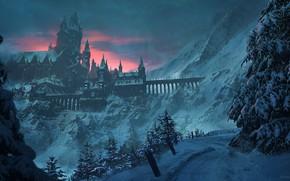 Картинка зима, снег, деревья, горы, мост, замок