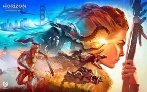 Картинка девушка, лицо, коллаж, роботы, Aloy, Horizon Forbidden West
