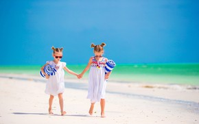 Картинка море, пляж, лето, солнце, побережье, девочки, сарафан