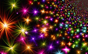 Картинка яркие, огоньки, Новый Год, Рождество, звёздочки, разноцветные