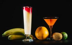 Картинка апельсин, киви, бокалы, сок, бананы, лайм, фрукты, черный фон