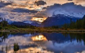 Картинка лес, горы, озеро, отражение, восход, рассвет, утро, Канада, Альберта, Banff National Park, Alberta, Canada, Mount …