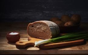 Картинка свет, зеленый, темный фон, стол, перо, еда, лук, хлеб, посуда, натюрморт, овощи, предметы, композиция, картошка, …