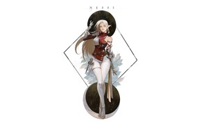 Картинка Girl, Fantasy, Beautiful, Art, Style, Background, Illustration, Elf, Minimalism, Character, NESSI