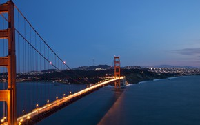Картинка мост, огни, америка