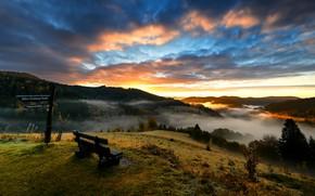 Картинка закат, туман, река, скамья