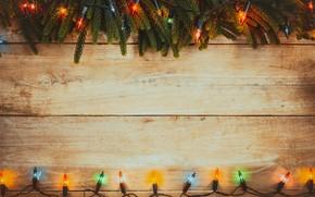 Картинка украшения, colorful, Новый Год, Рождество, гирлянда, Christmas, wood, New Year, decoration, Merry