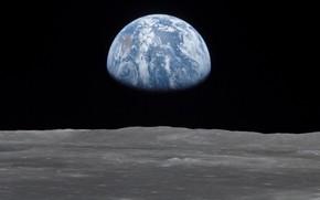 Картинка планета, Земля, вид с Луны