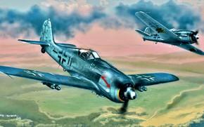 Обои Германия, штурмовик, Luftwaffe, Fw 190, Focke -Wulf, авиабомбы, Fw.190F-8, German air force, Schlachtgeschwader 77, SG77