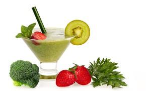 Картинка зелень, киви, клубника, напиток, смузи