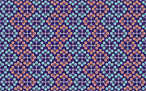 Картинка текстура, red, орнамент, Blue, with, background, pattern, floral