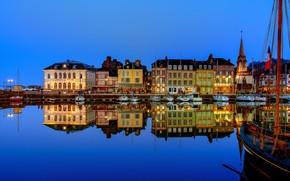 Картинка огни, Франция, лодки, вечер, причал, Онфлер