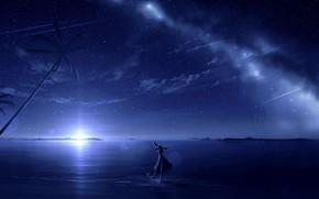 Картинка море, девушка, ночь, пальмы