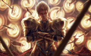 Картинка парень, мечи, Гильгамеш, золотые доспехи, Fate / Stay Night, Fate / Zero