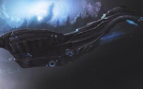 Картинка Корабль, Fantasy, Stars, Space, Art, Космический Корабль, Фантастика, Nebula, Spaceship, Vehicles, Science Fiction, Spacecraft, Dmitrii …