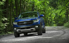 Картинка синий, Ford, пикап, Ranger, лесная дорога, 2019, FX2 Package