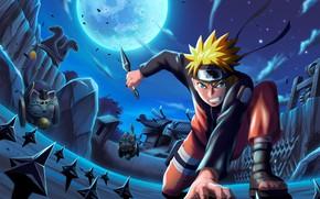 Картинка ночь, оружие, Наруто, Naruto, кунай, Узумаки Наруто, сюрикены