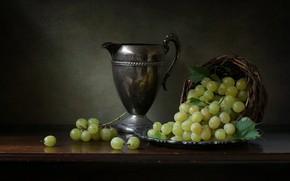 Картинка стиль, виноград, кувшин, натюрморт, корзинка, гроздья