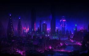 Картинка Ночь, Город, Неон, Дождь, Небоскребы, Здания, City, Архитектура, Арт, Art, Фантастика, Rain, Neon, Fiction, Небоскрёбы, …