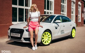 Картинка car, машина, девушка, солнце, Audi, шорты, кеды, майка, girl, красивая девушка, позирует, blonde, блогер, Somanyhorses, …