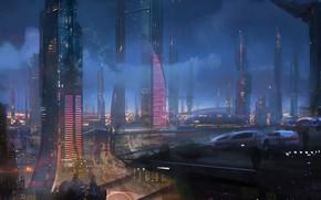 Картинка город, будущее, мегаполис, неон вывески, sci fi city