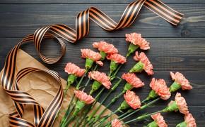 Картинка цветы, букет, георгиевская лента, 9 мая, flowers, гвоздики, Victory Day, День Победы