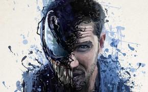 Картинка абстракция, фон, фантастика, рисунок, арт, кляксы, постер, ужасы, Том Харди, Tom Hardy, Веном, Venom