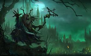 Картинка ночь, туман, луна, монстр, Существо, Warhammer, зелёный туман
