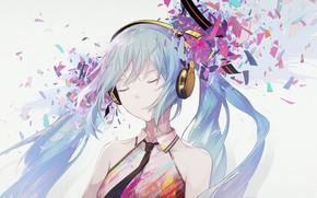 Картинка осколки, Hatsune Miku, Vocaloid, Вокалоид, голубые волосы, Хатсуне Мику