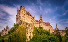 Картинка небо, скала, замок, Германия, Germany, Баден-Вюртемберг, Baden-Württemberg, Sigmaringen Castle, Зигмаринген, Sigmaringen, Замок Зигмаринген