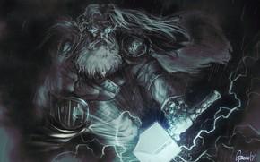 Картинка Рисунок, Молнии, Fantasy, Арт, Art, Thor, Тор, Бог, God, Thunder, Мьёльнир, Бог грома, Гром, Andrea …