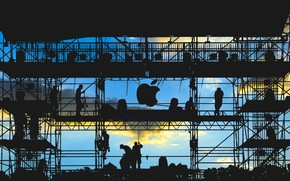 Картинка logo, men, silhouette, work, Apple Inc.