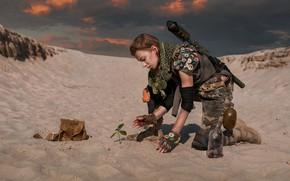 Картинка девушка, оружие, пустыня, Dima Begma, New life