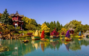 Картинка природа, пруд, парк, праздник, лодки, Канада, Монреаль, пагода, фестиваль, павильон, Китайский сад