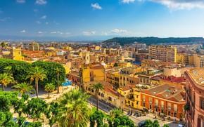Картинка пальмы, Кальяри, Сардиния, Италия, панорама