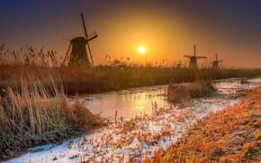 Картинка зима, солнце, мельница
