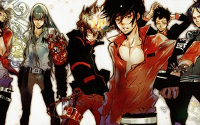 Картинка пламя, рубашка, парни, ремень, art, мафия, Sawada Tsunayoshi, Katekyo Hitman REBORN!, Akira Amano, Squalo Superbi, …
