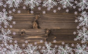Картинка зима, снежинки, дерево, доски, Новый Год, Рождество, new year, Christmas, wood, winter, background, snowflakes, decoration